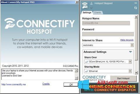 Captură de ecran Connectify pentru Windows 8.1