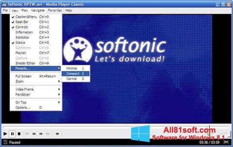 Captură de ecran Media Player Classic pentru Windows 8.1