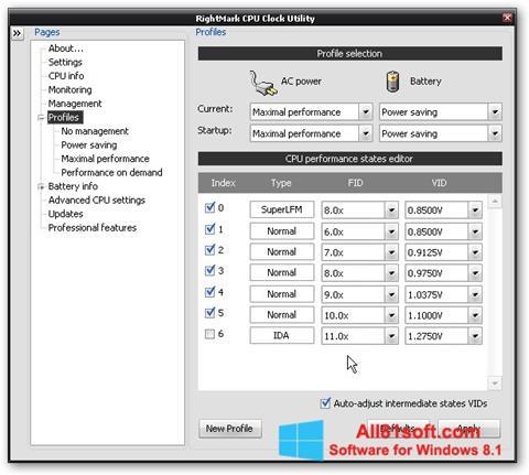 Captură de ecran RMClock pentru Windows 8.1