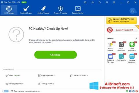 Captură de ecran Wise Care 365 pentru Windows 8.1