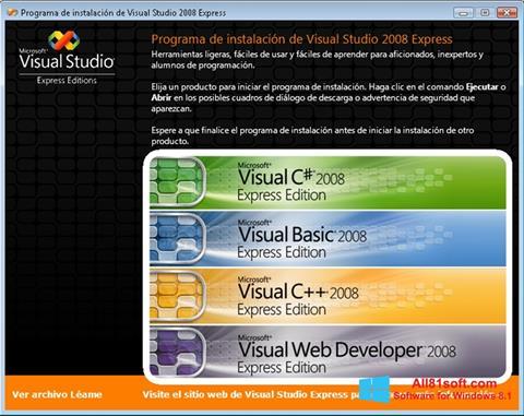 Captură de ecran Microsoft Visual Studio pentru Windows 8.1