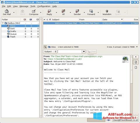 Captură de ecran Claws Mail pentru Windows 8.1