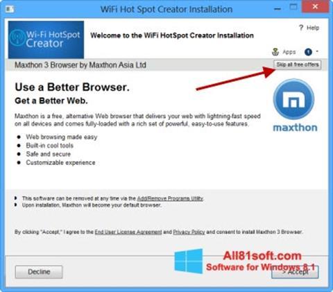 Captură de ecran Wi-Fi HotSpot Creator pentru Windows 8.1