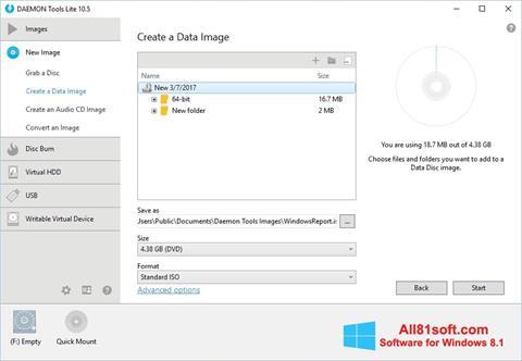 Captură de ecran DAEMON Tools Lite pentru Windows 8.1