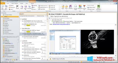Captură de ecran Microsoft Outlook pentru Windows 8.1