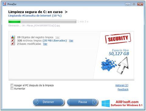 Captură de ecran PrivaZer pentru Windows 8.1