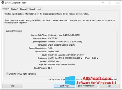 Captură de ecran DirectX pentru Windows 8.1