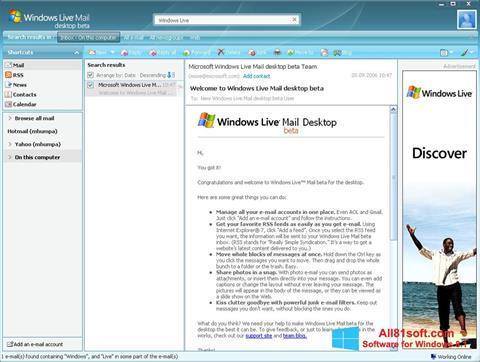 Captură de ecran Windows Live Mail pentru Windows 8.1