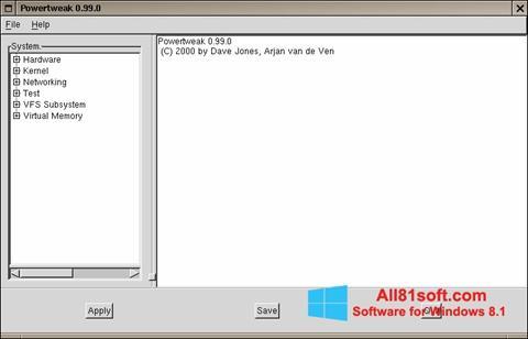 Captură de ecran PowerTweak pentru Windows 8.1