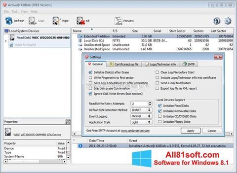 Captură de ecran Active KillDisk pentru Windows 8.1
