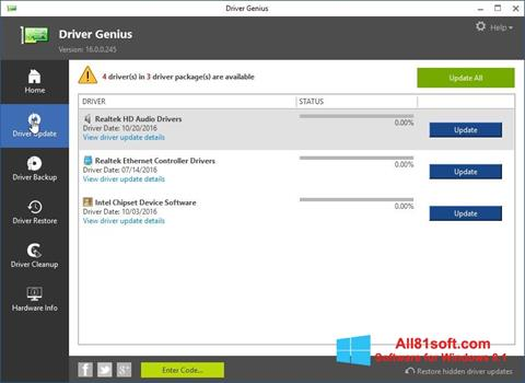 Captură de ecran Driver Genius pentru Windows 8.1