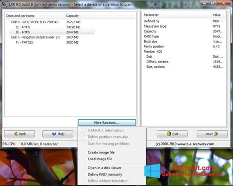 Captură de ecran Zero Assumption Recovery pentru Windows 8.1
