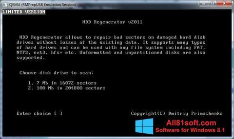 Captură de ecran HDD Regenerator pentru Windows 8.1