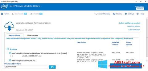 Captură de ecran Intel Driver Update Utility pentru Windows 8.1