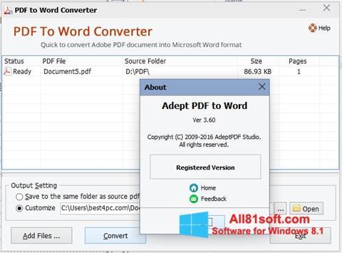 Captură de ecran PDF to Word Converter pentru Windows 8.1