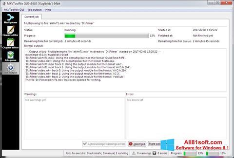 Captură de ecran MKVToolnix pentru Windows 8.1