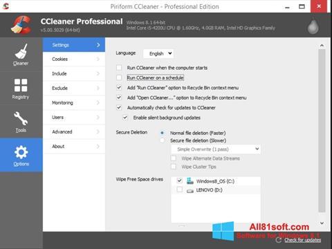 Captură de ecran CCleaner pentru Windows 8.1