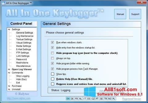 Captură de ecran Keylogger pentru Windows 8.1