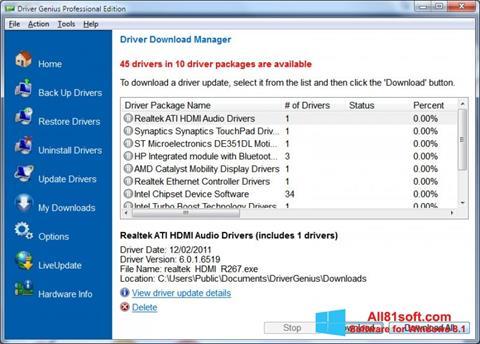Captură de ecran Driver Genius Professional pentru Windows 8.1