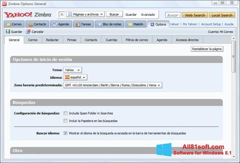 Captură de ecran Zimbra Desktop pentru Windows 8.1