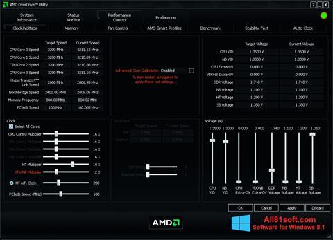 Captură de ecran AMD Overdrive pentru Windows 8.1